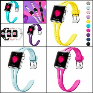 Slim Band for Apple Watch, Soft Silicone Wristband for iWatch Series 6/SE 5 4 ..