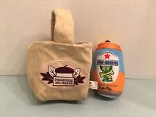 1 Bark Box Canvas Bag Doghouse Orchards Squeaky Dog Toy+ Paw-Grrino Soda Can