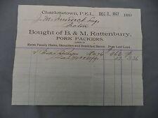 Letterhead Advertising B&M Rattenbury Dec 3 1897 Charlottetown PEI Pork Curers