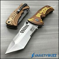 MTECH GOLD SPRING TACTICAL FOLDING RESCUE BLADE Assisted Opening Pocket Knife