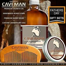 Handcrafted Caveman® BEARD GROWTH OIL SERUM KIT + Caveman®  BEARD COMB + BALM