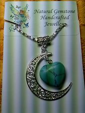 """TURQUOISE GEMSTONE  """"LOVE YOU TO THE MOON AND BACK"""" NECKLACE"""