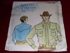 "AUTHENTIC PATTERNS #254-MEN'S WESTERN RODEO SHIRT PATTERN   NK 16 ½ - CH 44""  FF"