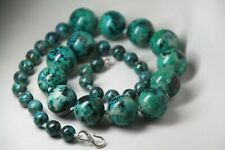 Chrysocolla Blue Green Natural Gemstone Silk Knot Necklace .925 Sterling Silver