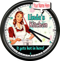 Personalized Your Name Kitchen Retro Vintage Decor Mom Sister Sign Wall Clock