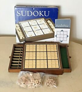 Sudoku Deluxe Wood Game & Tray 43359 100% Complete & VGC