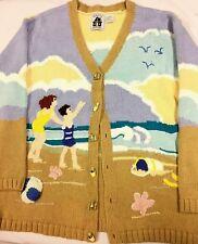 BEACH Seashells Sandcastle Children's STORYBOOK Knits SWEATER BUTTON DOWN SZ LG