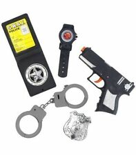 Police Set Kids Gun Accessories Handcuffs Book Fancy Dress Costume Smiffys 23842