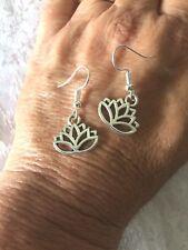 Lotus flower Silver Earrings 17mm wide on 18 gauge silver hooks - AUSSIE MADE!