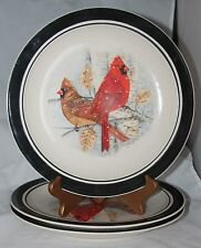 3 Stoneware Folkcraft CARDINAL Salad Dessert PLATES Scotty Z black trim
