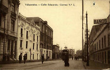 Valparaiso Chile Südamerika s/w AK 1923 gelaufen Calle Edwards Straßenbahn Tram