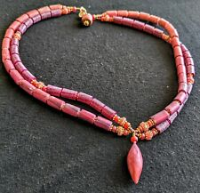 Pink Coral Purple Pat Bolgar Artisan Signed Hand Made  Bead Necklace 17 Inch