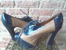 """Jeffrey Campbell 5"""" Heel Blue & Beige Leather BRONTE Platform Oxfords Size 8M"""