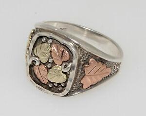 Black Hills Gold 12k & Sterling Silver Men's Leaf Ring Size 11