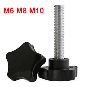 M6 M8 M10 Black Plastic Rosette Pentagram Star Thumb Screws Hand Grip Knob Bolts