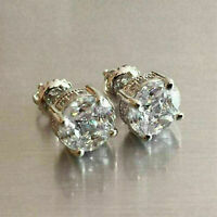 2.00 Ct Round Cut VVS1 Diamond Antique Vintage Stud Earrings 14K White Gold Over