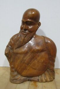 """Vintage carved unknown wood 9.5"""" Buddha - smiling with a beard"""