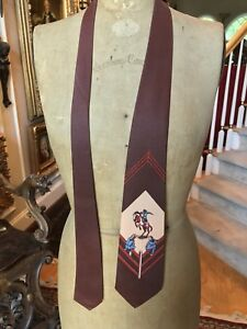 Vintage, Never Used 1940's PALM ISLAND OF MIAMI COWBOY RODEO TIE