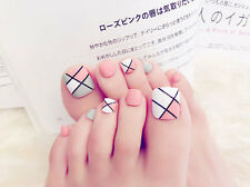 24 x HOT Summer Must Have 3D Twill Short Fake False Full Toe Nails Tips Stickers
