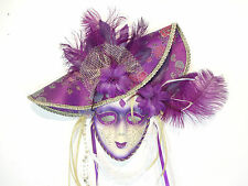 PURPLE GOLD HAT JOLLY VENETIAN MASQUERADE MASK MARDI GRAS CARNEVAL PARTY C36