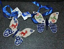 NEW SET/2 Boleslawiec BUTTERFLY Ornament  DEER STAR TREE SNOWFLAKE Pattern