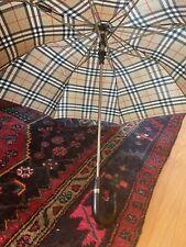 Vintage Burberry London Compact Umbrella With Black Wood Handle - EUC