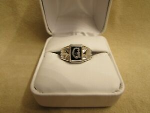 """Initial """"G"""" Boys/Small Finger Sterling Silver Ring With Genuine Onyx Stone"""