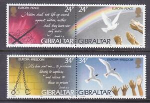Gibraltar 677a-79a (676-78) MNH 1995 Peace & Freedom EUROPA Pairs Set Very Fine