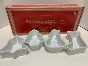 WILLIAMS SONOMA White Ceramic Holiday Ramekins Set - Tree Stocking Bell Snowman