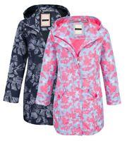New Womens Lined Showerproof Floral Hooded Coat Ladies Jacket Mac