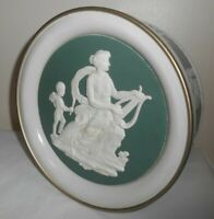 """8"""" Round Tin WEDGEWOOD Reproduction - ERATO THE GREEK MUSE OF LOVE POETRY"""