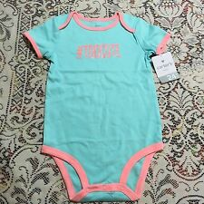 Carter's Baby Girl Size 24 Months Bodysuit Mint Green Pink #TooCute