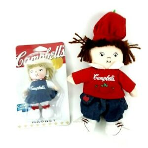Campbell's Soup Collectible Tomato Soup Beanie Doll and Sealed Magnet Farm Doll