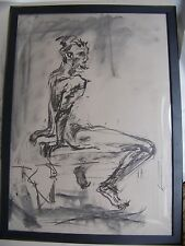 Figure drawing nude expressive, charcoal / paper, man sitting , A1/A2 size @