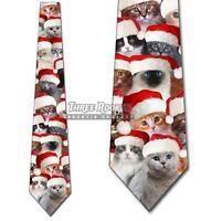 Christmas Cat Santa Hats Tie Men's Holiday Neck Ties Brand New