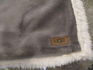 "Ugg Pillow Case Sham Plush Gray & White Sherpa Standard /Queen 20 x26"" SET OF 2"