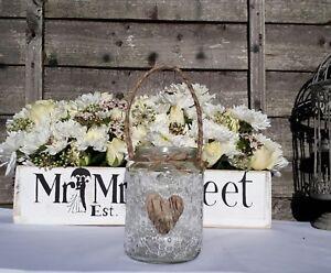 Personalized Glass Candle Holder Lantern Jar Rustic Barn Wedding Light Heart