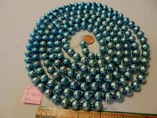 "Christmas Garland Mercury Glass, Blue 94"", Long 1/2"" Beads, Ap11, Vintage"