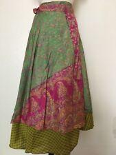 Silk Wrap Around Skirt Reversible Hippie Hobo Gypsy Dress Handmade Nepal S4