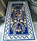 5'x3' Marble Conference Center Table Top Lapis Lazuli Inlay Hallway Decor H3438A