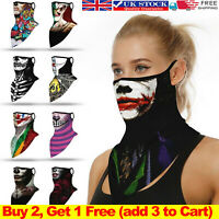 Halloween Face Mask Scarf Bandana Clown Print Ear Hanging Neck Tube Cover Safety