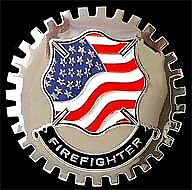 New Vintage FireFighter Car/Truck Grill Grille Badge- Chromed Brass- Great Gift!