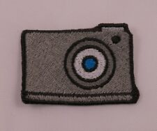 Embroidered Retro Mod Camera Emoji Cute Text Patch Applique Iron On Sew On USA
