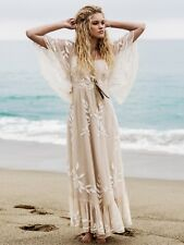 Free People Enchanted  Forest Dress Size 0 Embroidered Boho Maxi MRSP $350.00