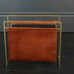 Leather Magazine Rack Tan and Brass Frame House Soho Furniture