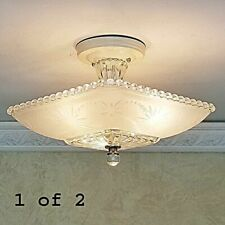 551p Vintage Hobnail 40s art deco Glass Ceiling Light Lamp antique white