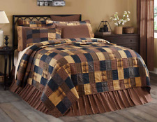 Patriotic Patch Twin Queen King or Cal King Quilt : Primitive Red Blue Patchwork