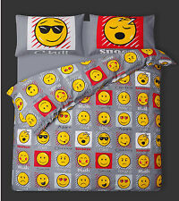 SINGLE BED GREY EXPRESSIONS EMOJI COOL FUNKY CHILL SNOOZE DUVET COVER BED SET