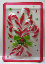 """RAZ Imports 15"""" Candy Cane Platter, made of Glass, Decorator Use Only"""