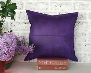 Purple color old pattern soft faux leather fabric pillow cover-1QTY
